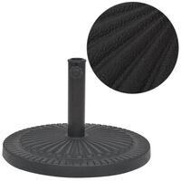 vidaXL Socle de parasol Résine Rond Noir 14 kg