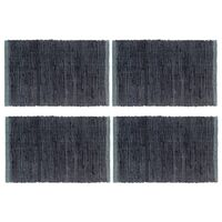 vidaXL Napperons 4 pcs Chindi Plain Anthracite 30 x 45 cm Coton