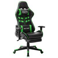 vidaXL Chaise de jeu avec repose-pied Noir et vert Cuir artificiel