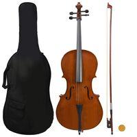 vidaXL Jeu de violoncelle sac arc en cheveux naturels Bois foncé 4/4