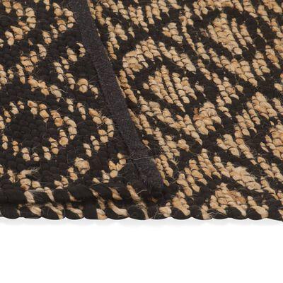 vidaXL Tapis tissé à la main Jute Tissu 120 x 180 cm Naturel et noir