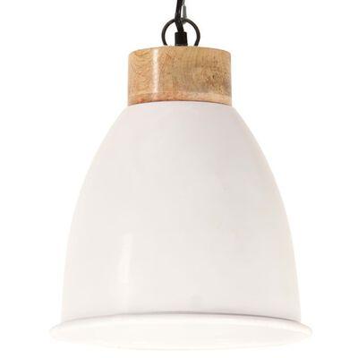 vidaXL Lampe suspendue industrielle Blanc Fer et bois solide 23 cm E27