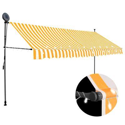 vidaXL Auvent manuel rétractable avec LED 400 cm Blanc et orange