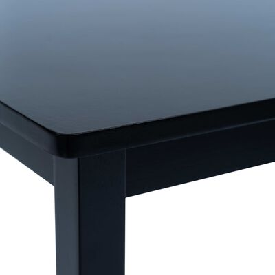vidaXL Table de salle à manger Noir 114x71x75 cm Bois d'hévéa massif