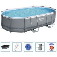 Bestway Ensemble de piscine Power Steel Ovale 488x305x107 cm