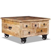 vidaXL Table basse Bois de manguier brut 70 x 70 x 40 cm
