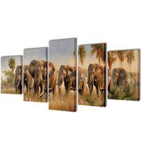 Set de toiles murales imprimées Éléphants 200 x 100 cm