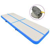 vidaXL Tapis gonflable de gymnastique avec pompe 300x100x15cm PVC Bleu