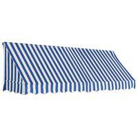 vidaXL Auvent de bistro 300x120 cm Bleu et blanc