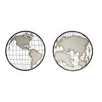 Deux Cercles Mappemonde En Métal Décoration Murale - World