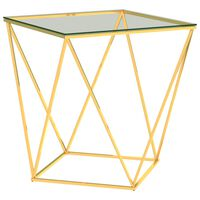 vidaXL Table basse Doré et transparent 50x50x55 cm Acier inoxydable