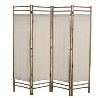 vidaXL Cloison de séparation pliable 4 panneaux Bambou et toile 160 cm