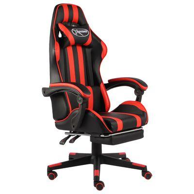 vidaXL Fauteuil de jeux vidéo et repose-pied Noir et rouge Similicuir