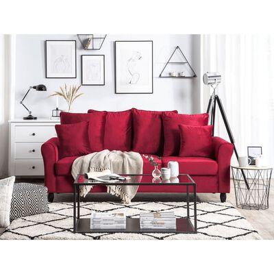 Canapé 3 places en velours rouge foncé BORNHOLM