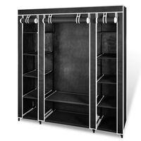 vidaXL Armoire avec compartiments et tiges 45 x 150 x 176 cm Noir