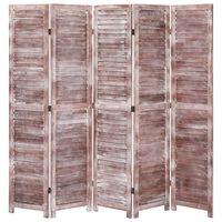 vidaXL Cloison de séparation 5 panneaux Marron 175x165 cm Bois