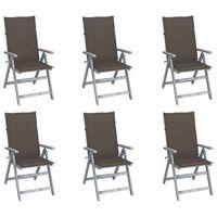 vidaXL Chaises inclinables de jardin 6 pcs avec coussins Bois d'acacia