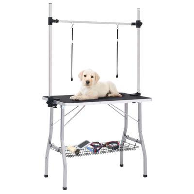 vidaXL Table de toilettage réglable de chiens avec 2 boucles et panier