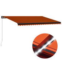 vidaXL Auvent manuel rétractable avec LED 500x300 cm Orange et marron