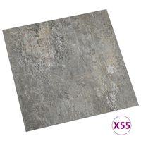 vidaXL Planches de plancher autoadhésives 55 pcs PVC 5,11 m² Gris