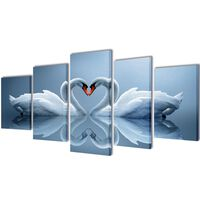 Set de toiles murales imprimées Cygnes 100 x 50 cm