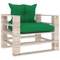 vidaXL Canapé palette de jardin avec coussins vert Bois de pin