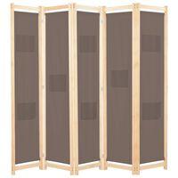 vidaXL Cloison de séparation 5 panneaux Marron 200 x 170 x 4 cm Tissu
