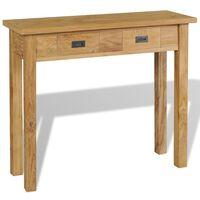 vidaXL Table console Teck massif 90 x 30 x 80 cm