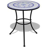 vidaXL Table de bistro Bleu et blanc 60 cm Mosaïque