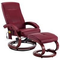 vidaXL Fauteuil de massage avec repose-pieds Rouge bordeaux Similicuir