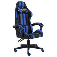 vidaXL Fauteuil de jeux vidéo Noir et bleu Similicuir