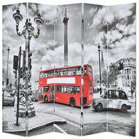 vidaXL Cloison de séparation 200 x 170 cm Bus londonien Noir et blanc
