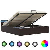 vidaXL Cadre de lit à rangement avec LED Gris Similicuir 160x200 cm