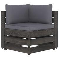 vidaXL Canapé d'angle sectionnel avec coussins Bois imprégné de gris
