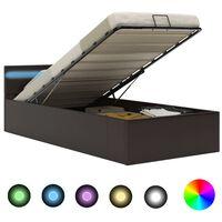 vidaXL Cadre de lit à rangement avec LED Gris Similicuir 90x200 cm