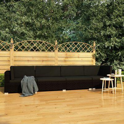vidaXL Canapés de jardin 4 pcs avec coussins Résine tressée Noir