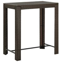 vidaXL Table de bar de jardin Marron 100x60,5x110,5 cm Résine tressée