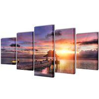Set de toiles murales imprimées Plage avec pavillon 200 x 100 cm