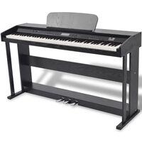 vidaXL Piano numérique avec pédales 88 touches Noir Panneau mélamine