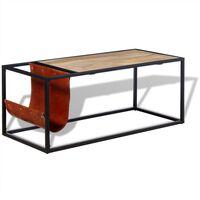 vidaXL Table basse avec porte-revues Cuir véritable 110 x 50 x 45 cm