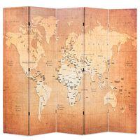 vidaXL Cloison de séparation pliable 200 x 170 cm Carte du monde Jaune