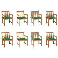 vidaXL Chaises de jardin 8 pcs avec coussins vert Bois de teck massif