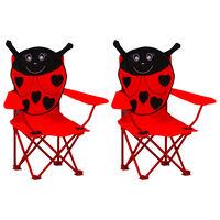 vidaXL Chaises de jardin pour enfants 2 pcs Rouge Tissu