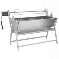 vidaXL Broche à rôtir de barbecue Fer et acier inoxydable