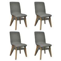 vidaXL 4pcs Chaises de salle à manger Gris clair Tissu et chêne massif