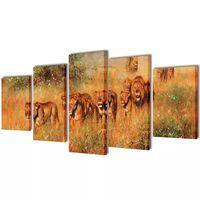 Set de toiles murales imprimées Lions 100 x 50 cm