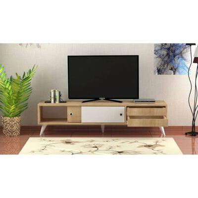 Homemania Meuble TV Eduardo 160x40x40 cm Chêne et blanc