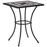 vidaXL Table de bistro mosaïque Noir et blanc 60 cm  Céramique