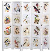 vidaXL Cloison de séparation 5 panneaux Blanc 175x165 cm Oiseaux