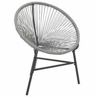 vidaXL Chaise de jardin sous forme de lune Résine tressée Gris